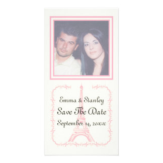 Paris wedding pink Eiffel Tower Save the Date Customised Photo Card