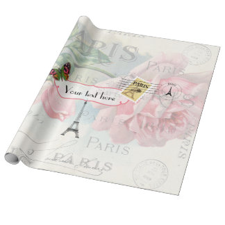Paris Wedding Vintage Shabby-Chic Pink Rose Custom Wrapping Paper