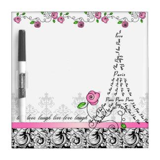 Paris White Board Eiffel Tower Pink Roses