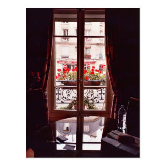 Paris window view postcard