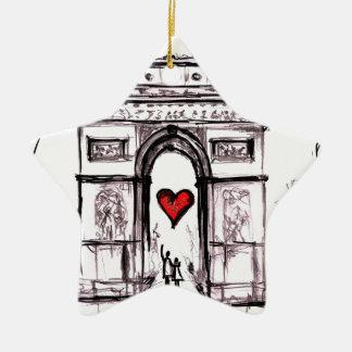 Paris with love ceramic star decoration