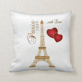 Paris with Love in Metallic Gold & White Satin Cushion