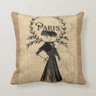 Paris Woman Fashion Vintage Jute Burlap Pillow
