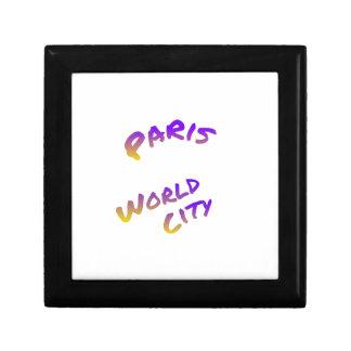 Paris world city, colorful text art gift box