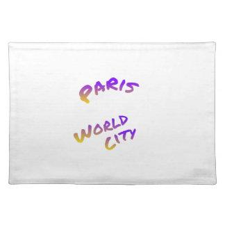 Paris world city, colorful text art placemat