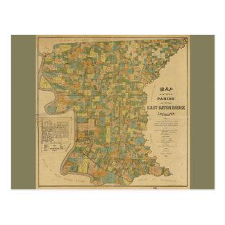 Parish of East Baton Rouge, Louisiana Map (1895) Postcard