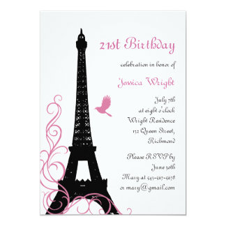 Parisian 21st Birthday Invitation (white)