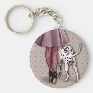 Parisian and its Dalmatian in walk Basic Round Button Key Ring