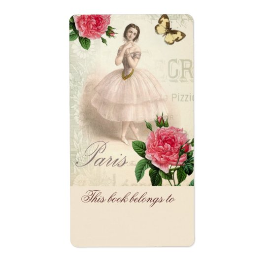 Parisian Ballerina Bookplate Shipping Label