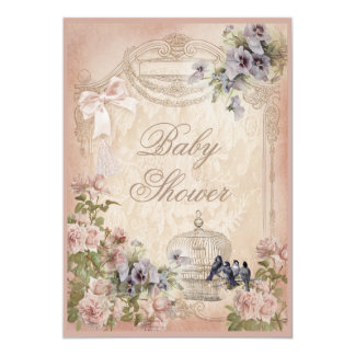 Parisian Birdcage, Birds and Flowers Baby Shower Card