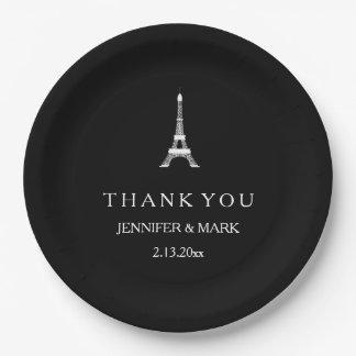 Parisian Black and White Wedding Eiffel Tower Paper Plate