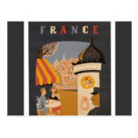 Parisian Cafe Travel Poster Postcard