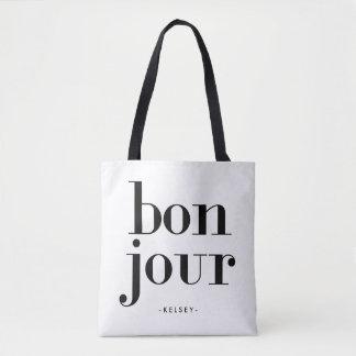 Parisian Chic Black and White Bonjour Tote Bag