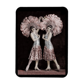 Parisian Dolly Twins Rectangular Photo Magnet
