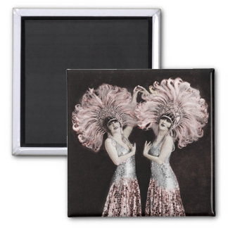 Parisian Dolly Twins Square Magnet