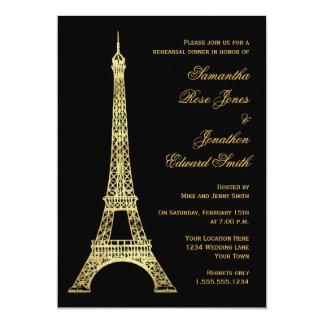 Parisian Eiffel Tower Black Gold Rehearsal Dinner 13 Cm X 18 Cm Invitation Card