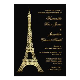 Parisian Eiffel Tower Black Gold Rehearsal Dinner Custom Announcement