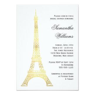 Parisian Eiffel Tower Gold Bridal Shower Card