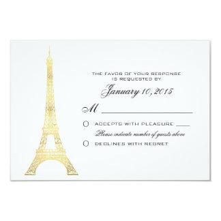 Parisian Eiffel Tower Gold Wedding RSVP Custom Card