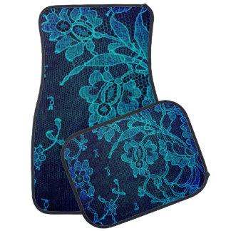 Parisian Feminine Victorian Gothic Navy Blue Lace Car Mat