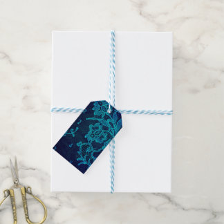 Parisian Feminine Victorian Gothic Navy Blue Lace Gift Tags