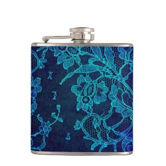 Parisian Feminine Victorian Gothic Navy Blue Lace Hip Flask