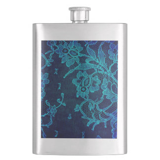 Parisian Feminine Victorian Gothic Navy Blue Lace Hip Flask