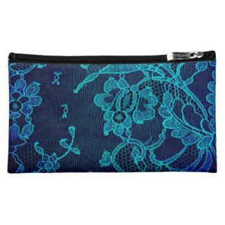 Parisian Feminine Victorian Gothic Navy Blue Lace Makeup Bag