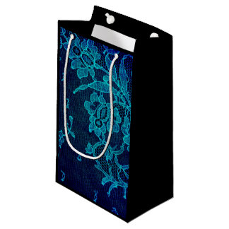 Parisian Feminine Victorian Gothic Navy Blue Lace Small Gift Bag
