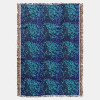 Parisian Feminine Victorian Gothic Navy Blue Lace Throw Blanket