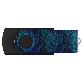 Parisian Feminine Victorian Gothic Navy Blue Lace USB Flash Drive