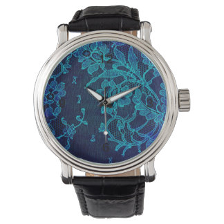 Parisian Feminine Victorian Gothic Navy Blue Lace Watch