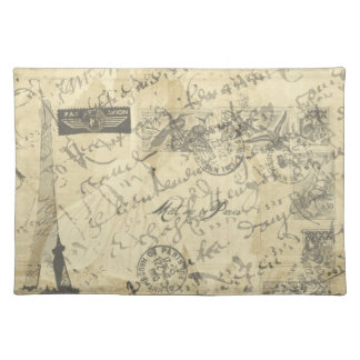Parisian French script with French postage placema Place Mat