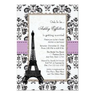 Parisian Lilac and Black Bridal Shower Invitations