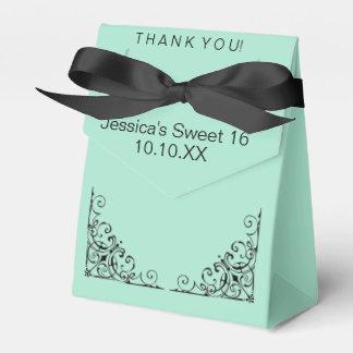 Parisian Mint Green Black Sweet Sixteen Date Favour Box