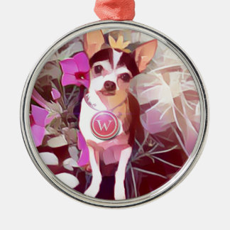 "Parisian Pale Pink Pooch ""W"" Silver-Colored Round Decoration"