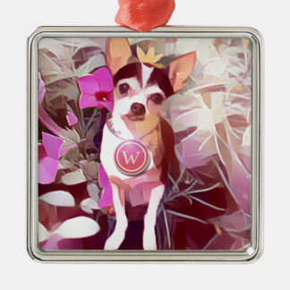 "Parisian Pale Pink Pooch ""W"" Silver-Colored Square Decoration"