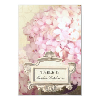 Parisian Pink Hydrangeas Table Number Place Card