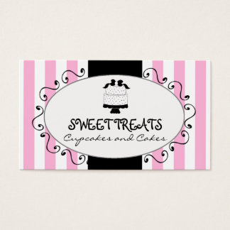 Parisian Pink Stripes Cupcake Cake Bakery Business Card