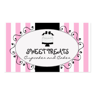 Parisian Pink Stripes Cupcake Cake Bakery Pack Of Standard Business Cards