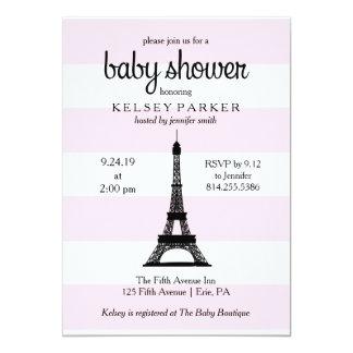 Parisian Pink Stripes Eiffel Tower Baby Shower Card