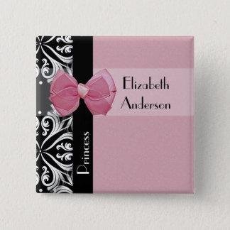 Parisian Princess Pink Ribbon Bow With Name 15 Cm Square Badge
