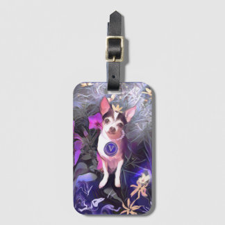 "Parisian Purple Pooch ""V"" Monogram Bag Tag"
