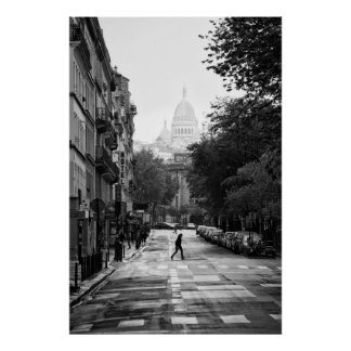 Parisian Street and Sacre Coeur - Poster