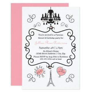 Parisian Themed - 3x5 Birthday Party Invitation