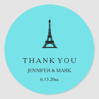 Parisian Tiffany Blue Eiffel Tower Wedding Classic Round Sticker