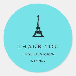 Parisian Tiffany Blue Eiffel Tower Wedding Round Sticker
