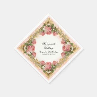 Parisian Vintage Rose Manor House Birthday Party Disposable Napkin
