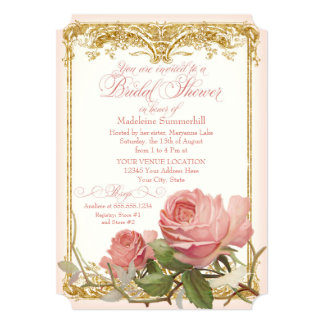 Parisian Vintage Rose Manor House Bridal Shower Card