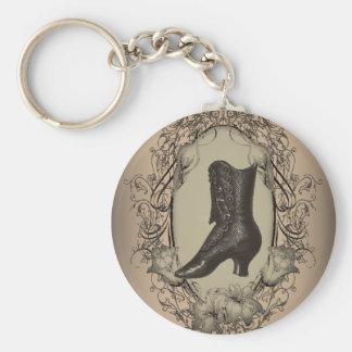 Parisian Vintage Victorian shoe steampunk Basic Round Button Key Ring